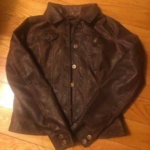 Jou Jou Faux Brown Leather Jacket, Size Sm